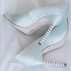 Sophia Webster ice blue bridal shoes